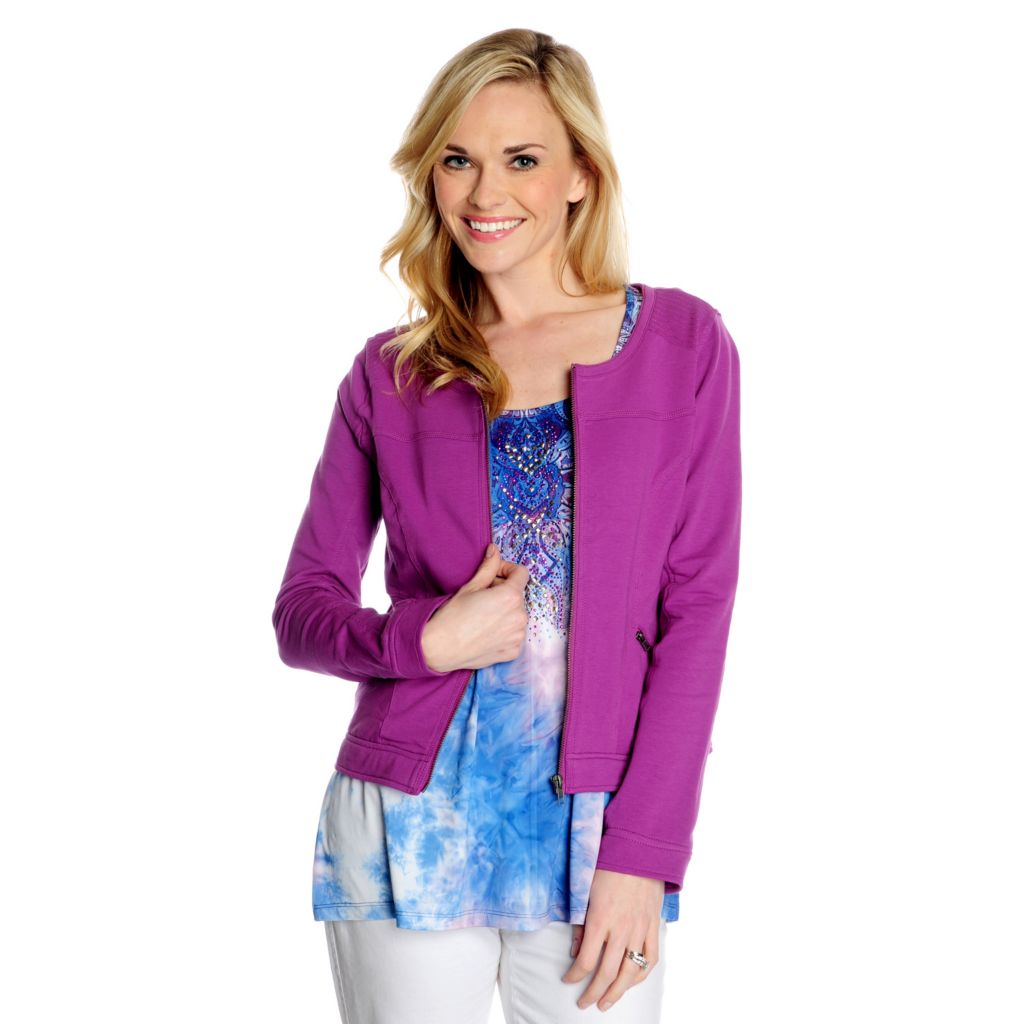716-259 - One World Micro Jersey Embellished Top & French Terry Jacket Two-Piece Set