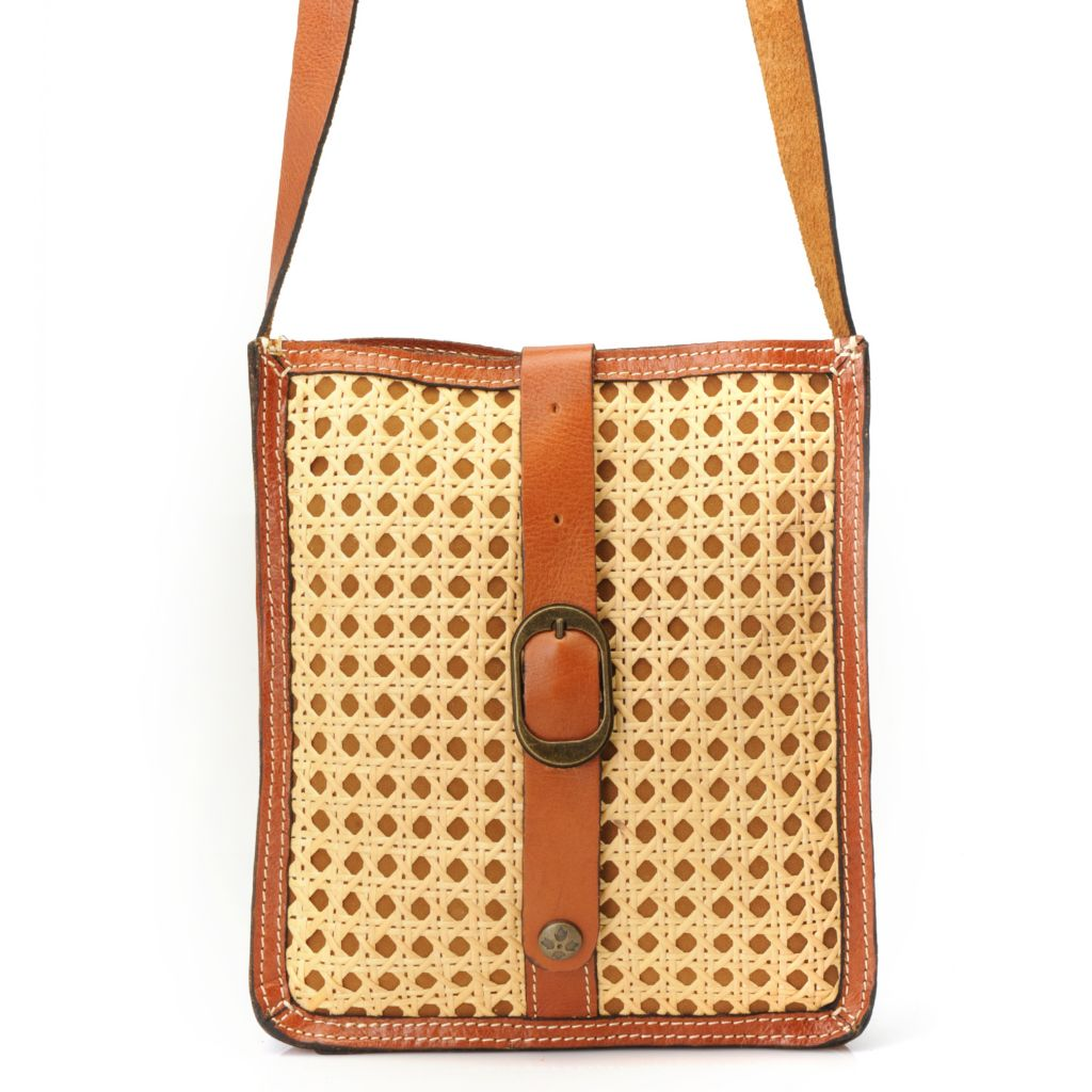 716-261 - Patricia Nash Leather & Woven Wicker Buckle Detailed Cross Body Bag