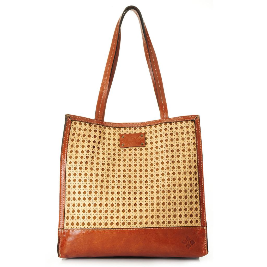 716-262 - Patricia Nash Leather & Woven Wicker Double Handle Tote Bag