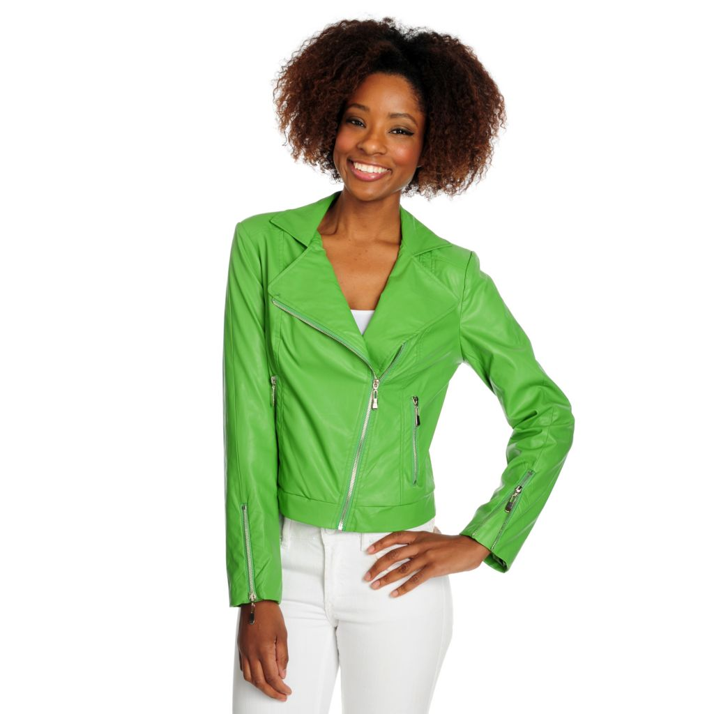 716-263 - WD.NY Faux Leather Long Sleeved Fully Lined Moto Jacket