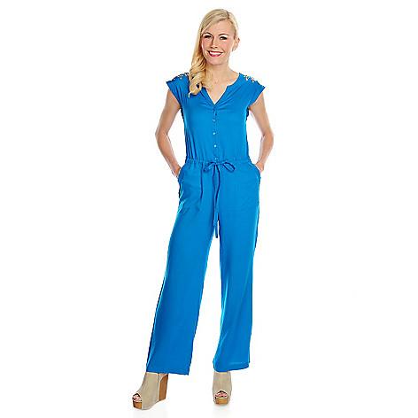 716-265 - WD.NY Challis Sleeveless Stud Embellished Tie-Front Jumpsuit