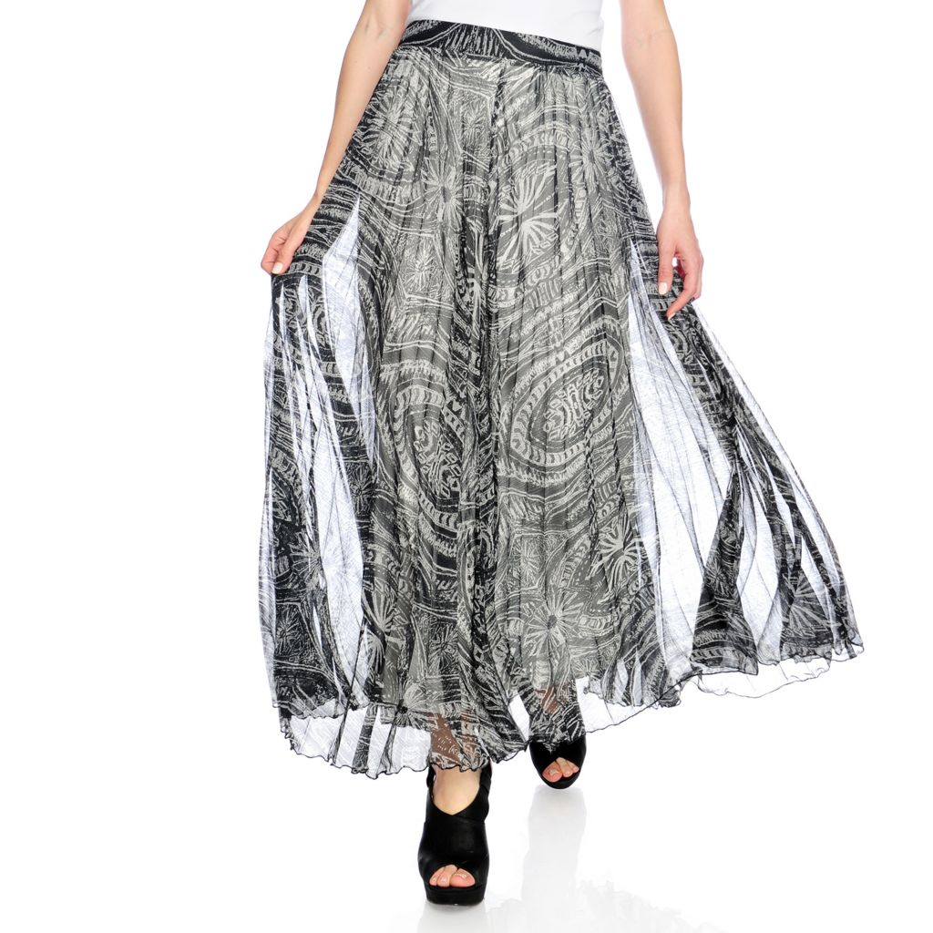 716-267 - WD.NY Chiffon Fully Lined Pleated Maxi Skirt