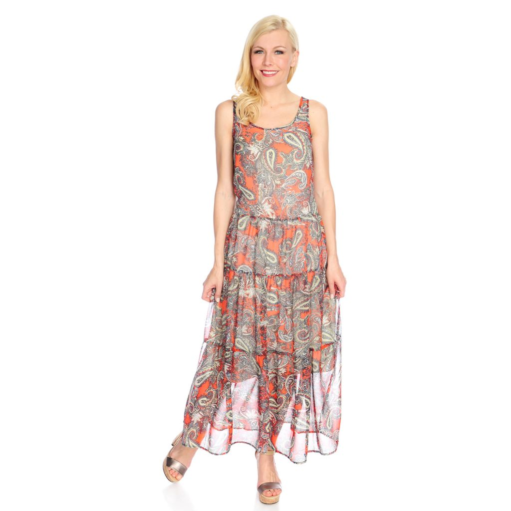 716-268 - WD.NY Crepe Sleeveless Tiered Maxi Dress