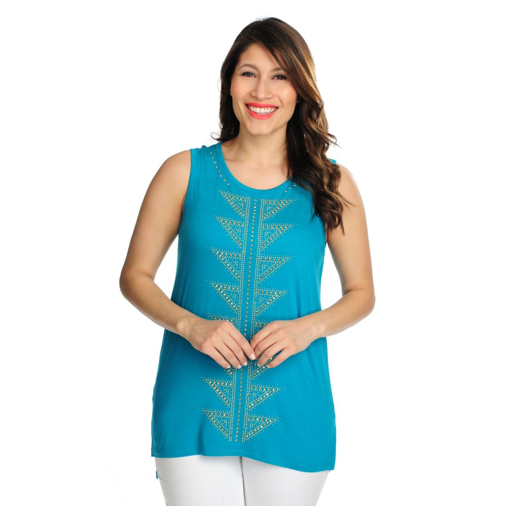 716-284 - WD.NY Stretch Knit Embellished Front Tank Top