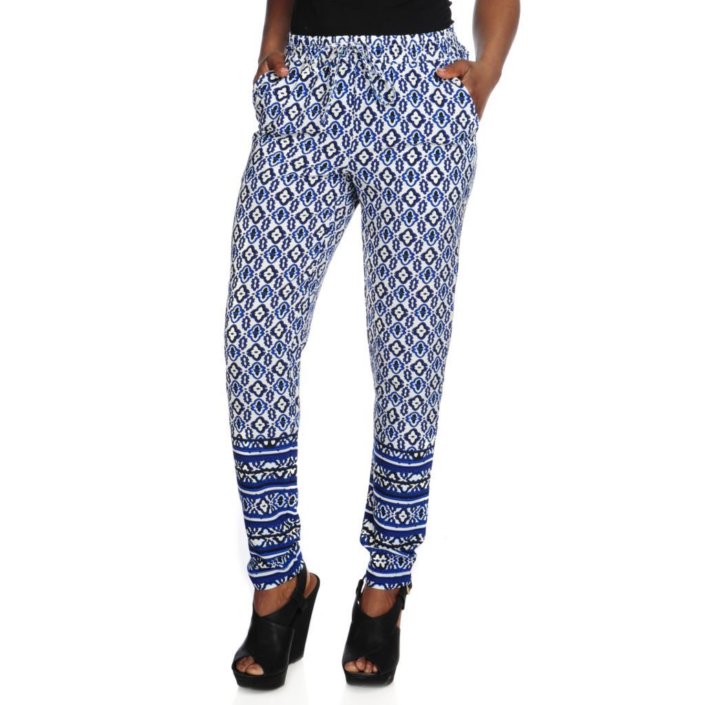 716-285 - WD.NY Printed Crepe Drawstring Waist Two-Pocket Pull-on Pants