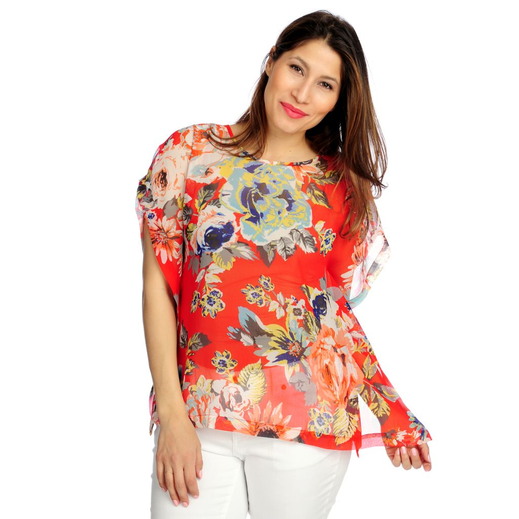716-286 - WD.NY Sheer Crepe Short Sleeved Poncho-Style Printed Blouse