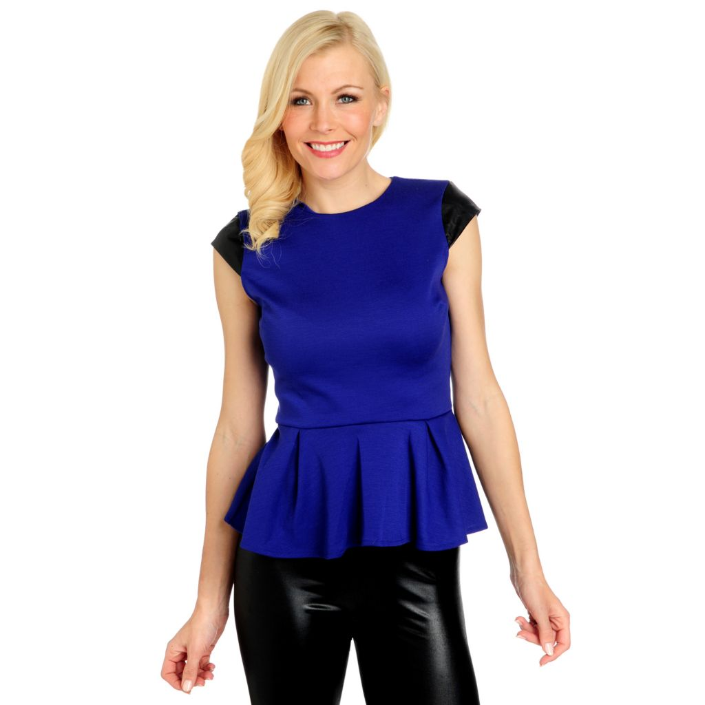 716-301 - WD.NY Ponte Knit Cap Sleeved Zip Back Peplum Top