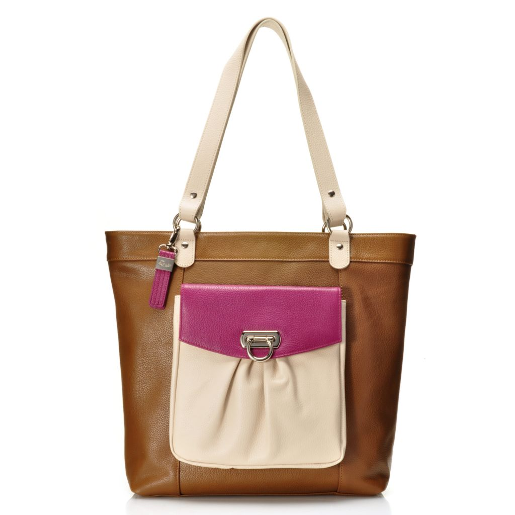 716-318 - Buxton® Pebbled Leather Color Block Pleated Front Pocket Tote Bag