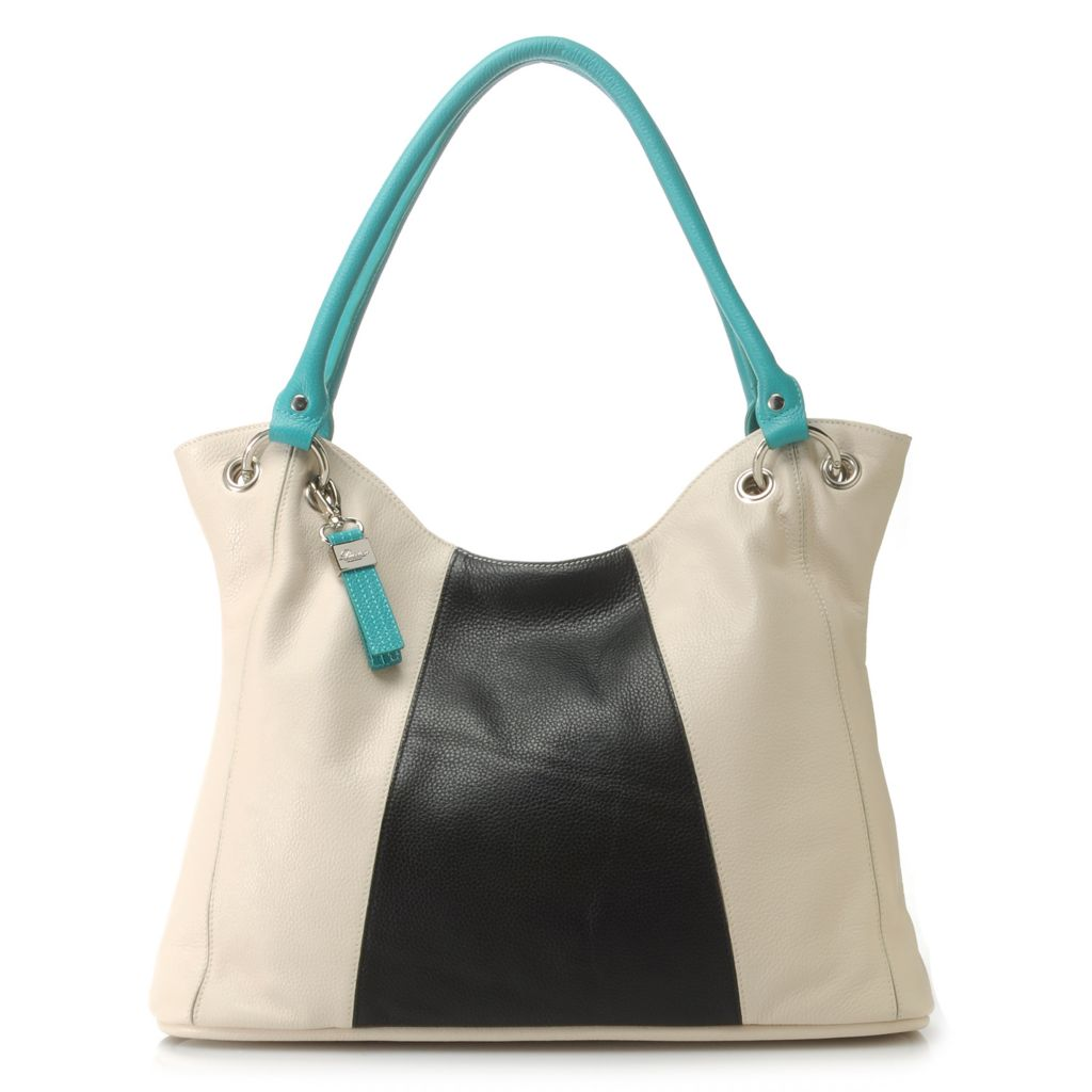 716-319 - Buxton® Pebbled Leather Double Handle Color Block Tote Bag