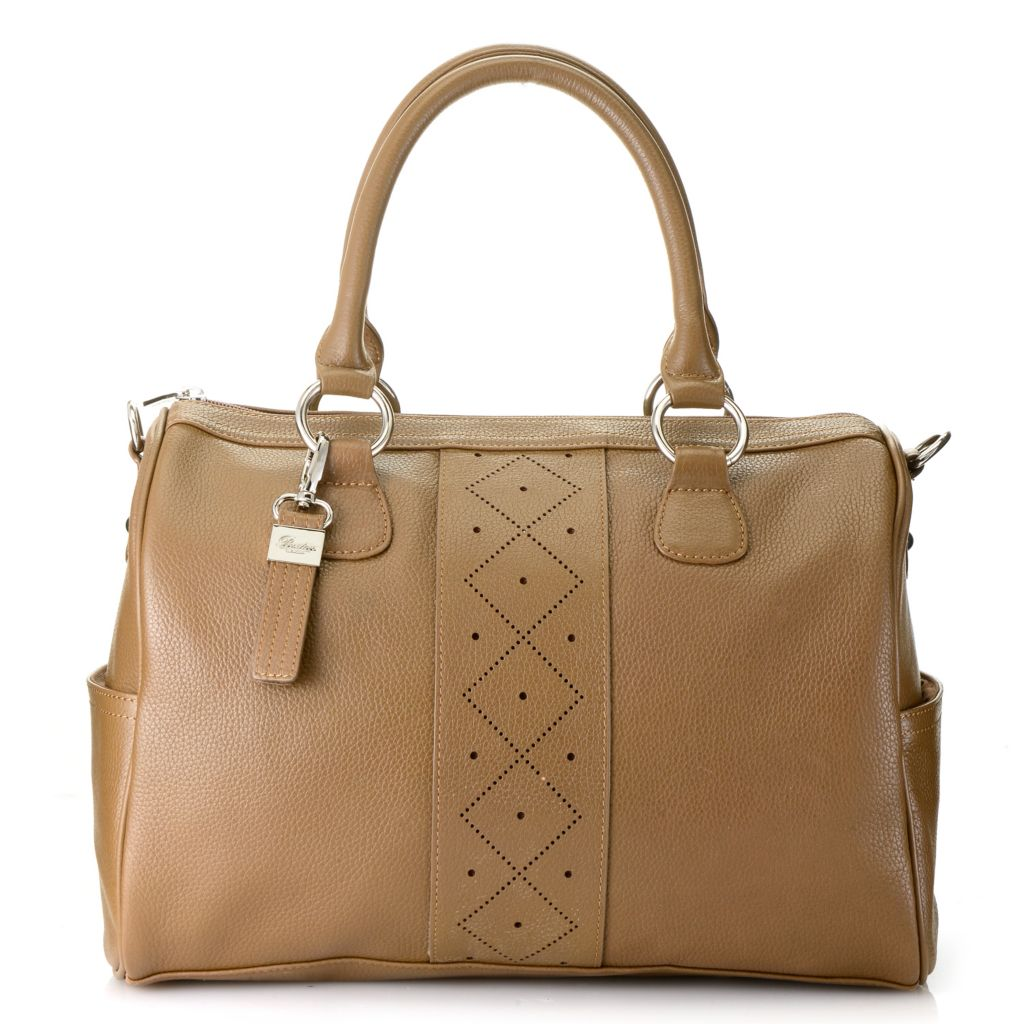 716-321 - Buxton® Pebbled Leather Double Handle Perforated Zip Top Satchel w/ Strap
