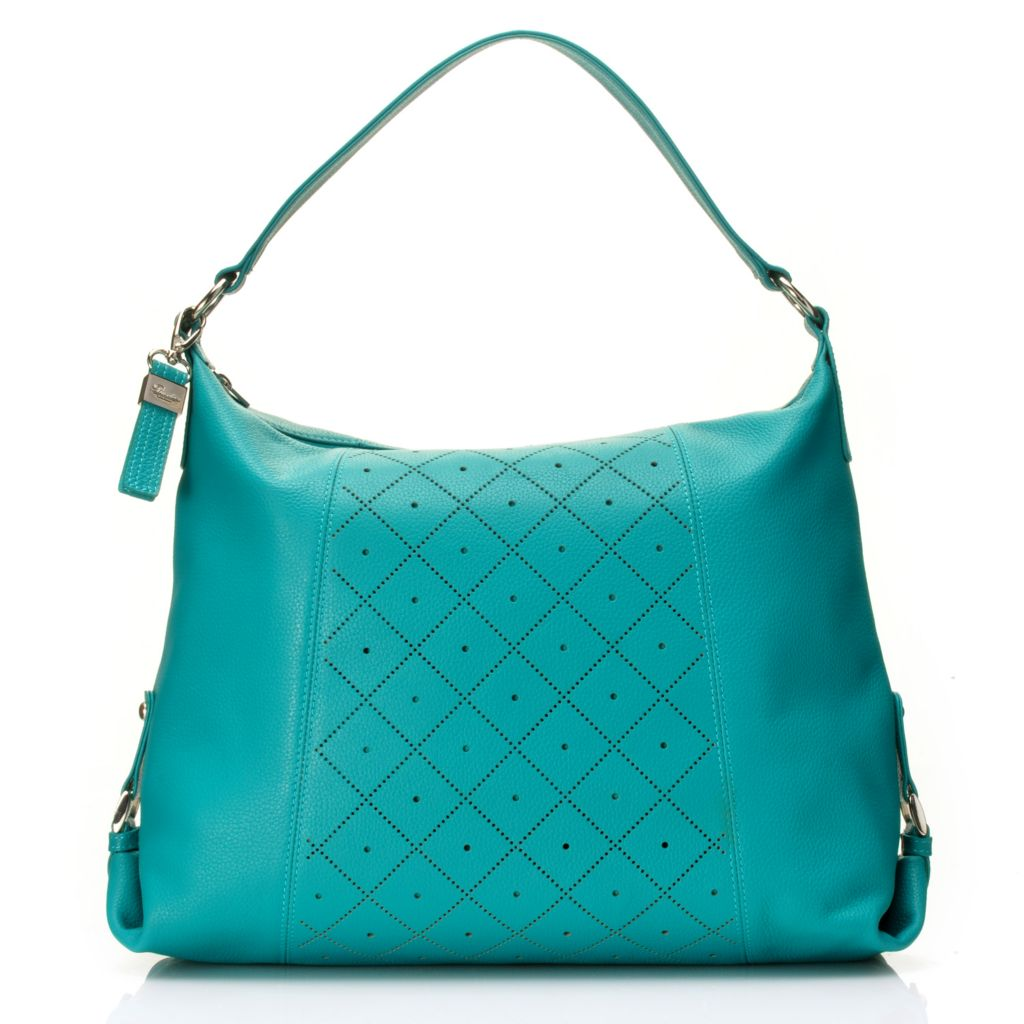 716-322 - Buxton™ Pebbled Leather Perforated Design Hobo Handbag w/ Cross Body Strap