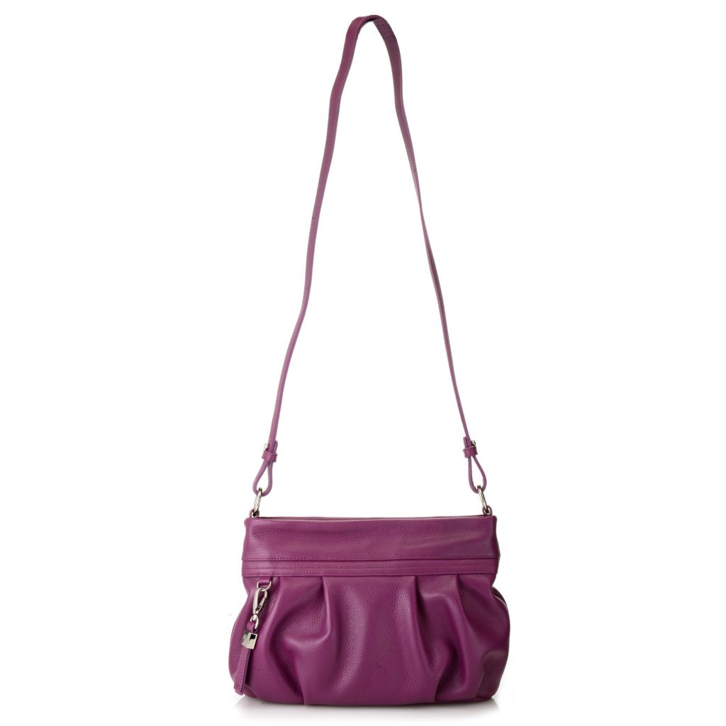 716-324 - Buxton® Pebbled Leather Pleated Zip Top Cross Body Bag