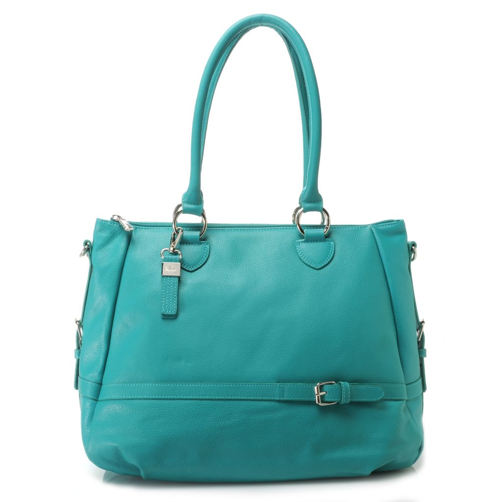 716-325 - Buxton® Pebbled Leather Double Handle Zip Top Satchel w/ Shoulder Strap