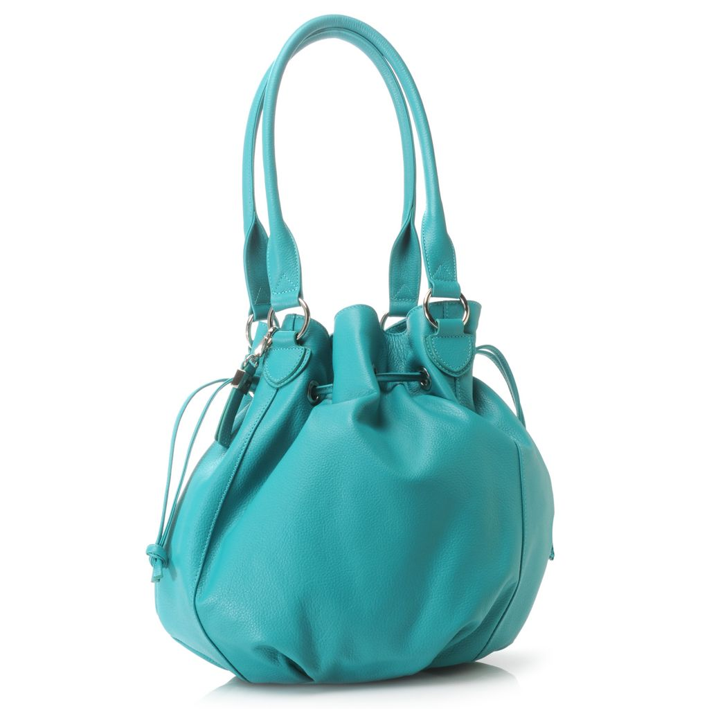 716-326 - Buxton® Pebbled Leather Double Handle Drawstring Bucket Bag