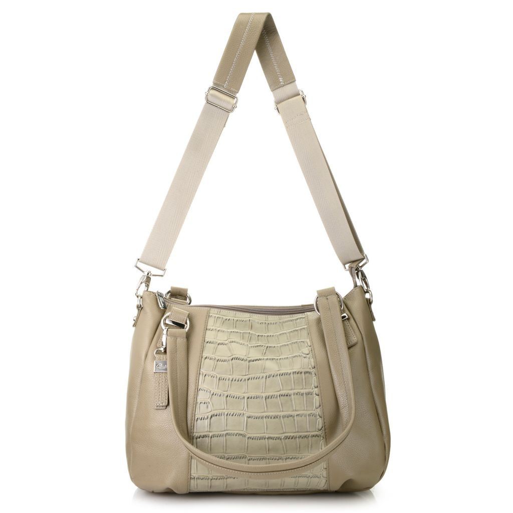 716-328 - Buxton® Croco Embossed & Pebbled Leather Double Handle Tote Bag w/ Strap