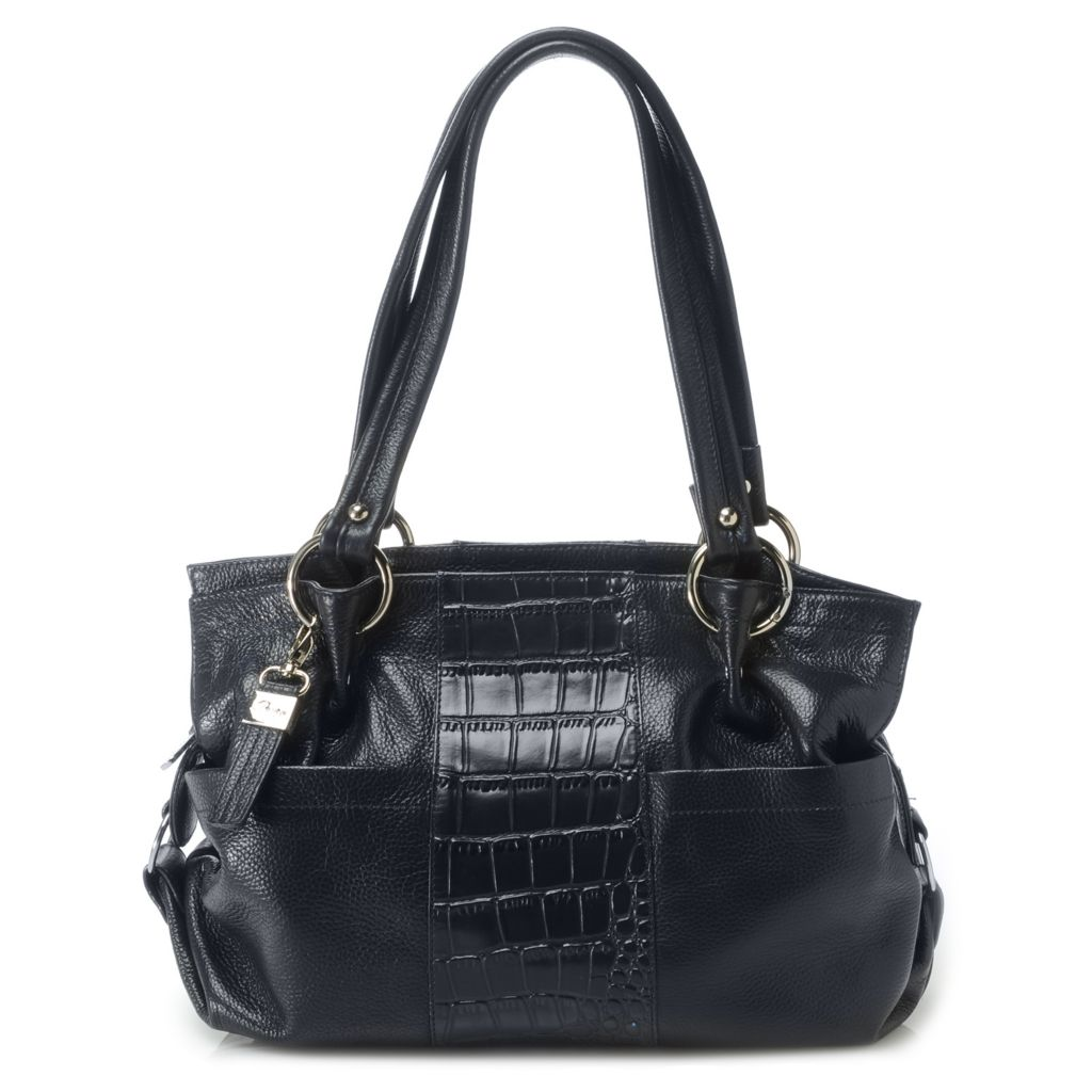 716-329 - Buxton® Croco Embossed & Pebbled Leather Double Handle Shoulder Bag