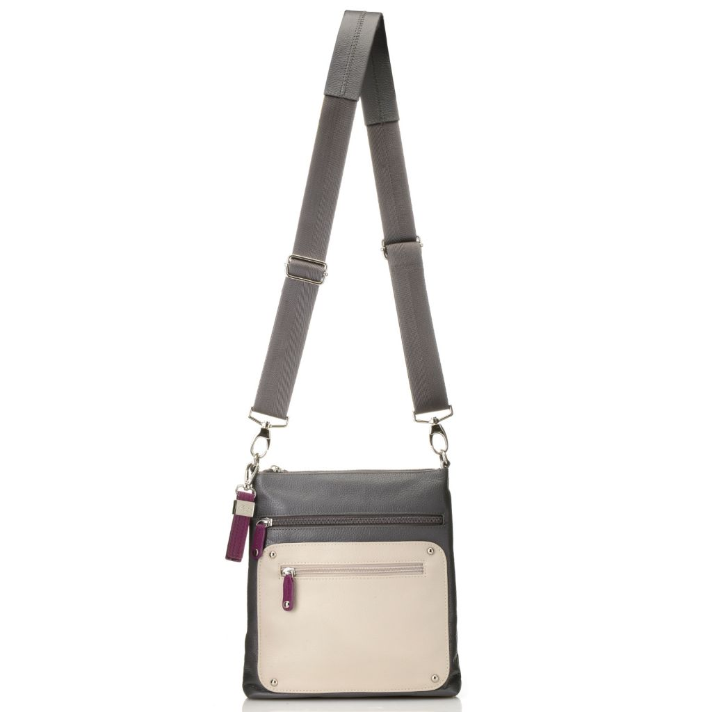 716-330 - Buxton® Pebbled Leather Color Block Zip Top Cross Body Bag