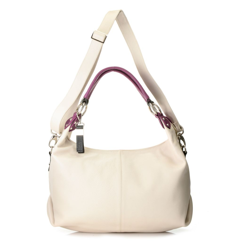 716-332 - Buxton® Pebbled Leather Double Handle Color Block Hobo Handbag