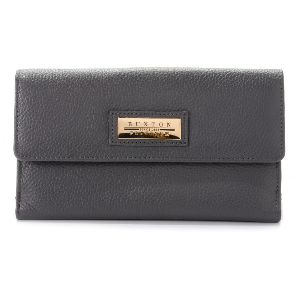 716-334 - Buxton® Pebbled Leather Multi Compartment Flap-over Wallet
