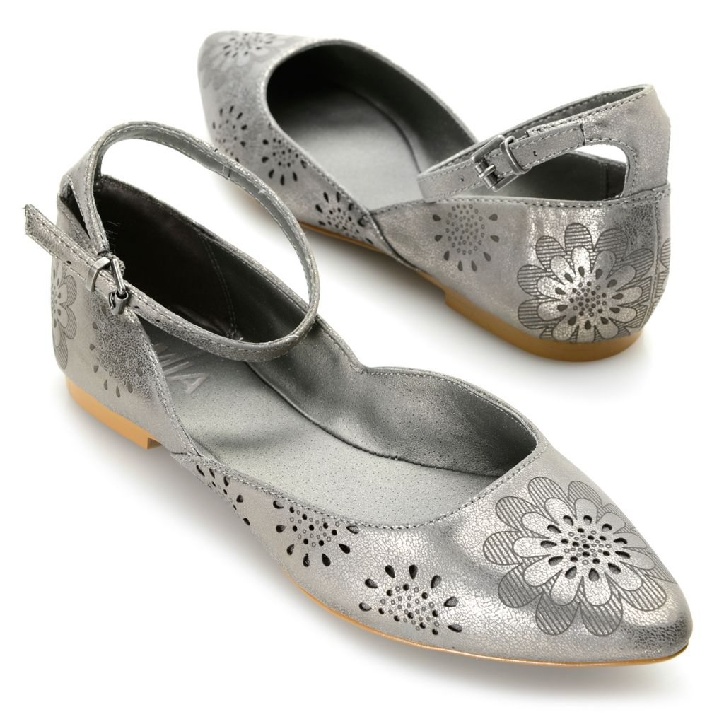 716-336 - MIA Pointed Toe Perforated Floral Design Ankle Strap Flats