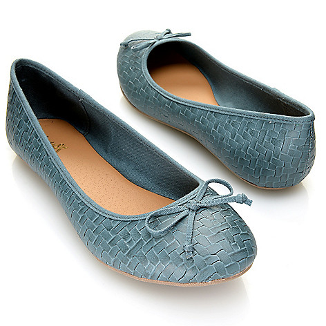 716-337 - MIA Woven Embossed Bow Detailed Ballet Flats
