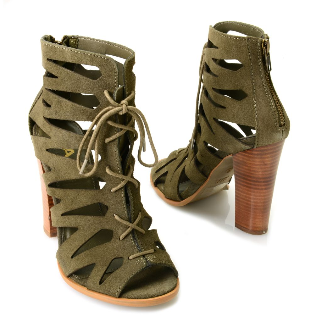 716-340 - MIA Suede Leather Cut-out Peep Toe Back Zip Ankle Booties
