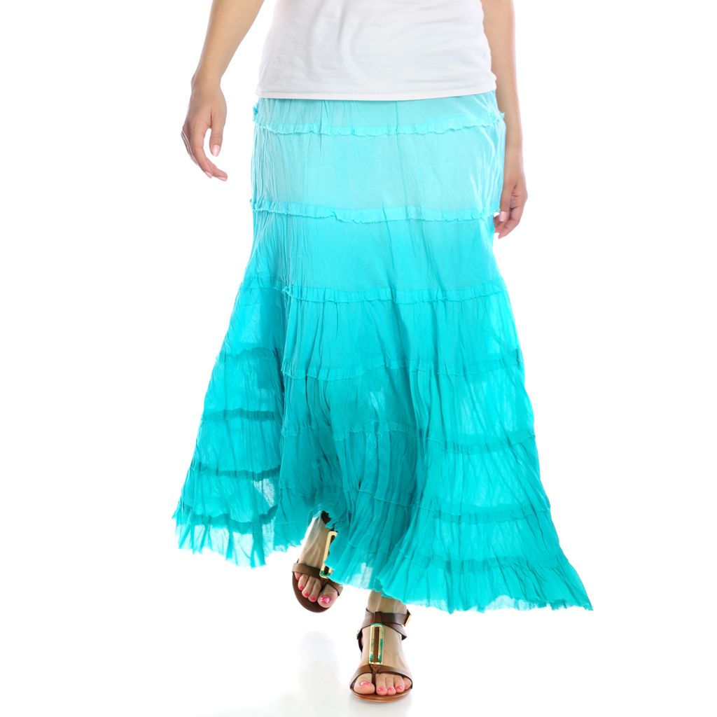 716-384 - OSO Casuals Cotton Gauze Dip-Dyed Raw Edge Tiered Skirt