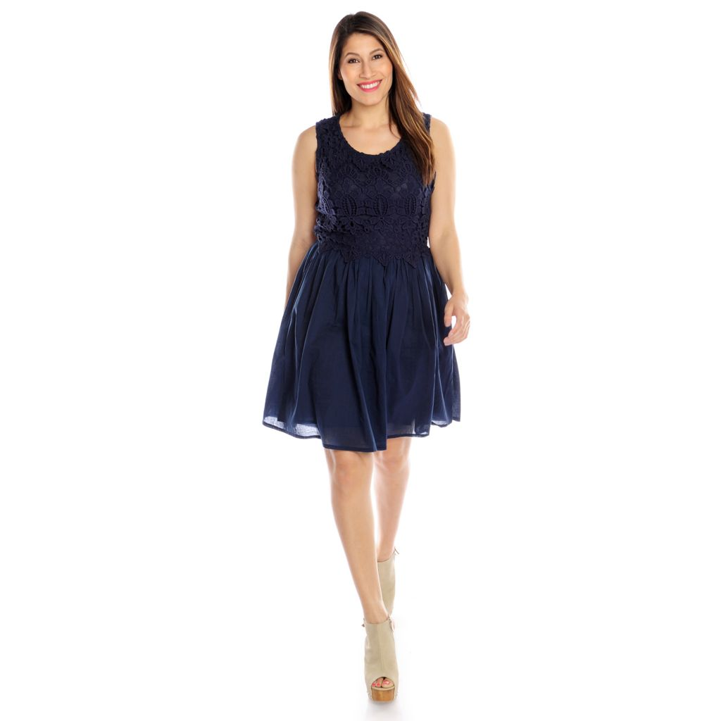 716-387 - OSO Casuals Cotton Woven & Crochet Bodice Fully Lined Sundress