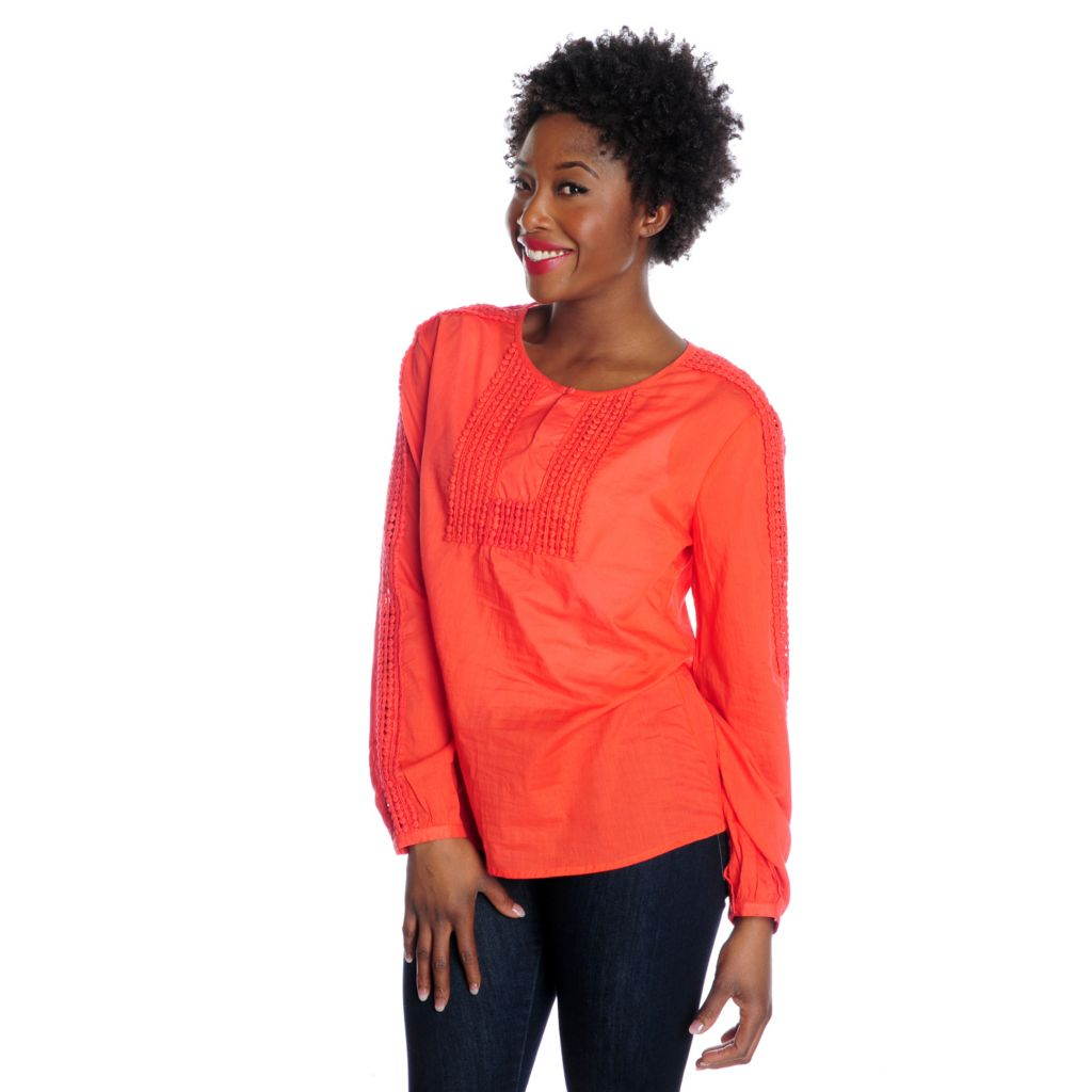 716-388 - OSO Casuals Cotton Woven Long Sleeved Crochet Detailed Keyhole Neck Top