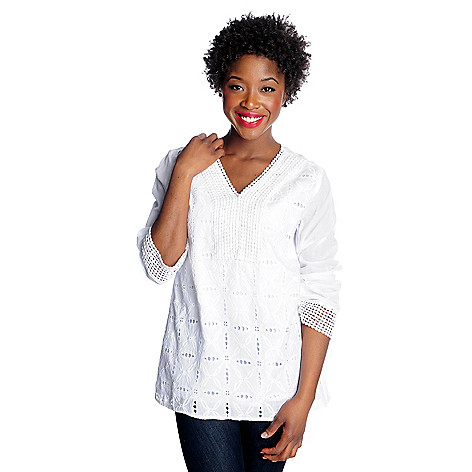 716-389 - OSO Casuals™ Cotton Voile Long Sleeved Embroidered V-Neck Tunic
