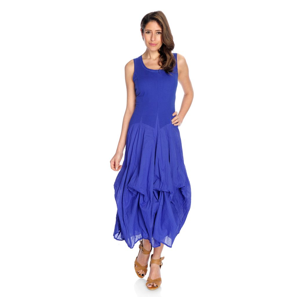 716-390 - OSO Casuals Cotton Gauze Sleeveless Convertible Godet Maxi Dress