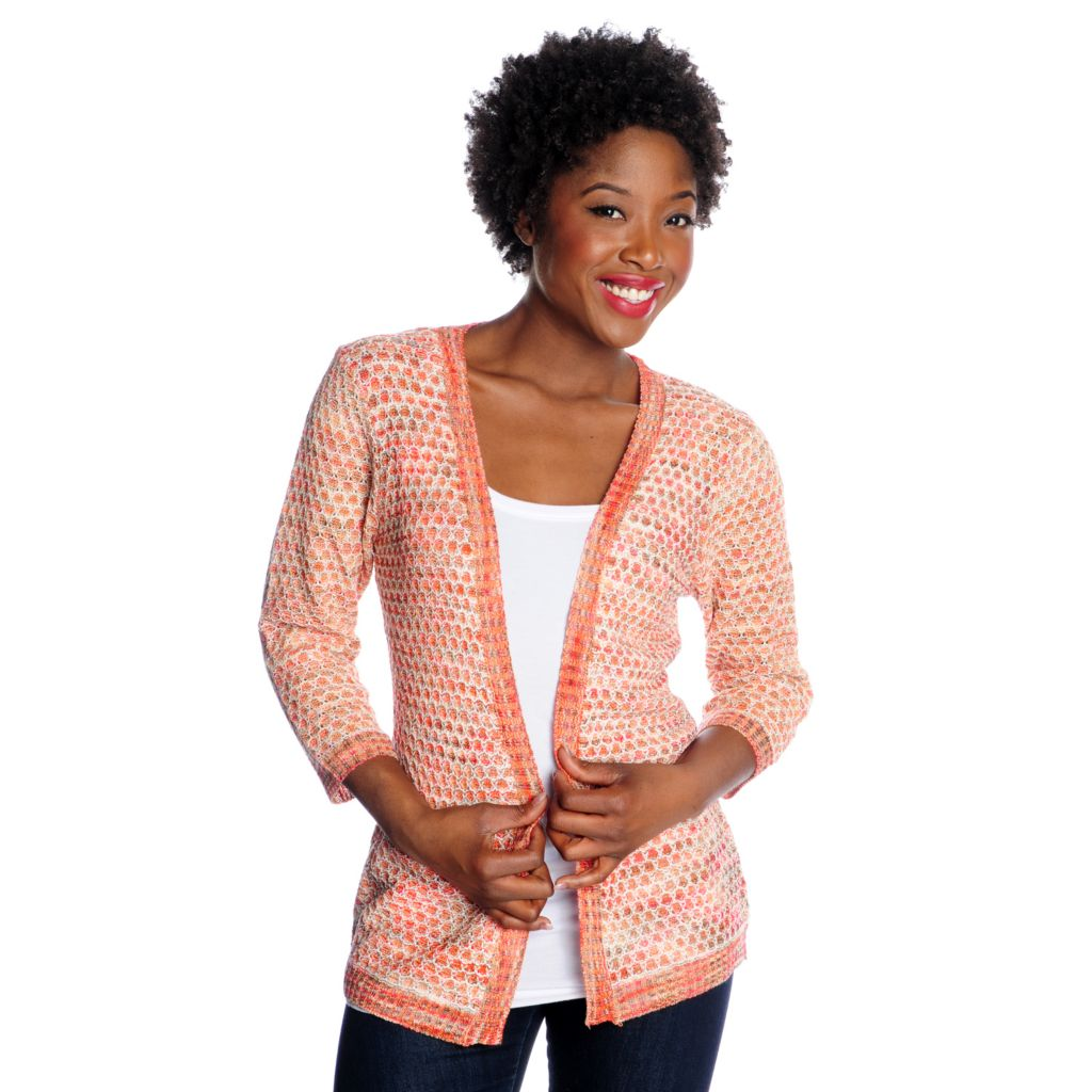 716-392 - OSO Casuals Sweater Knit 3/4 Sleeved Space-Dyed Open Cardigan