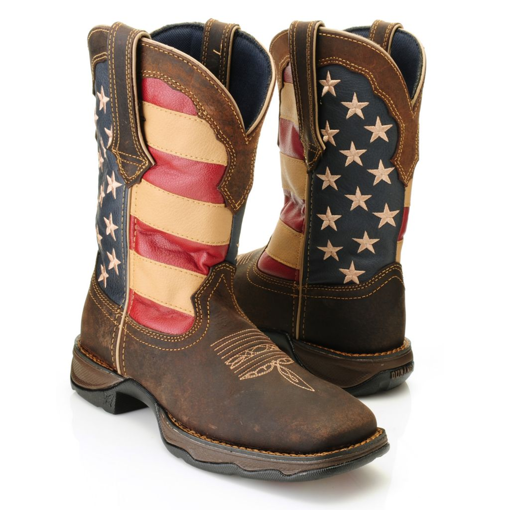 716-461 - Durango Full Grain Leather Pull-on Square Toe American Flag Mid-Calf Boots