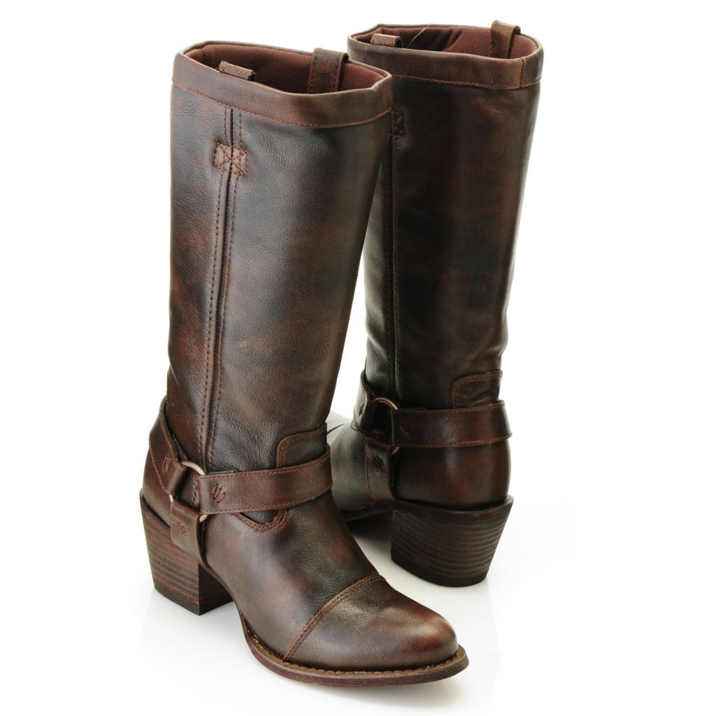 716-464 - Durango Full Grain Leather Harness Detailed Pull-on Mid-Calf Boots