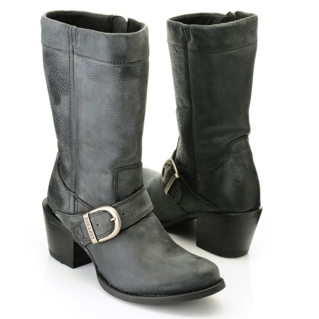 716-465 - Durango Full Grain Leather Belt & Buckle Detailed Side Zip Mid-Calf Boots