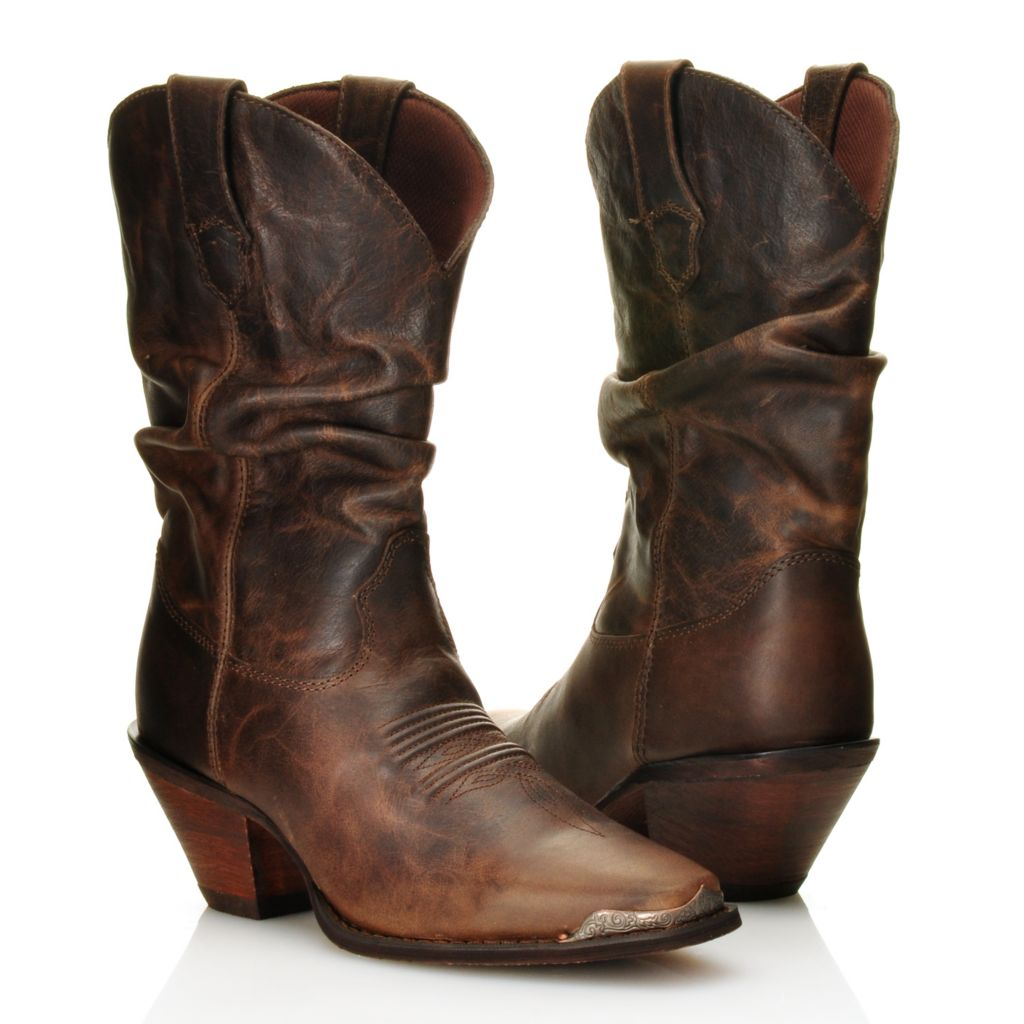 716-466 - Durango Full Grain Leather Deep Scalloped Snip Toe Slouchy Mid-Calf Boots
