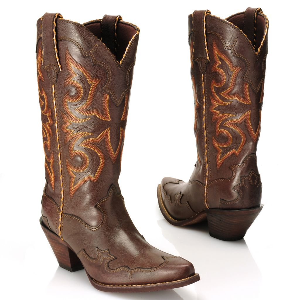 716-467 - Durango Scalloped Pull-on Pointed Toe Western-Inspired Faux Leather Mid-Calf Boots