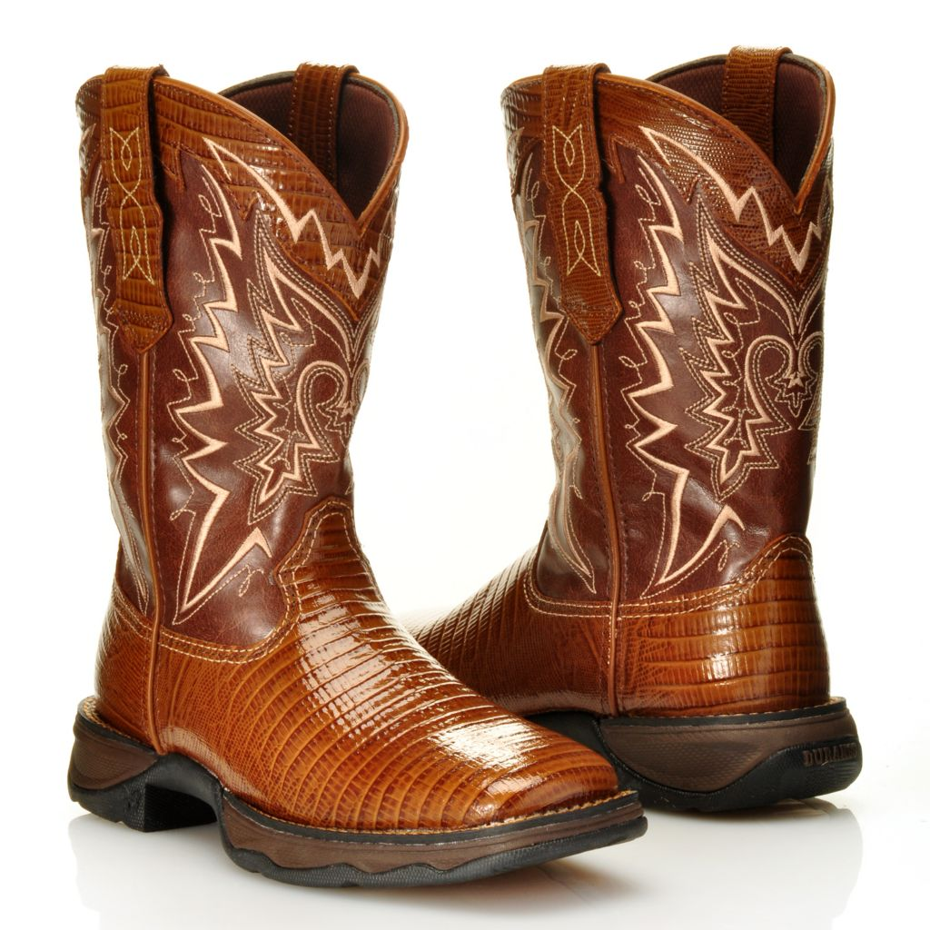 716-468 - Durango Snake Embossed Leather & Embroidered Pull-on Square Toe Mid-Calf Boots