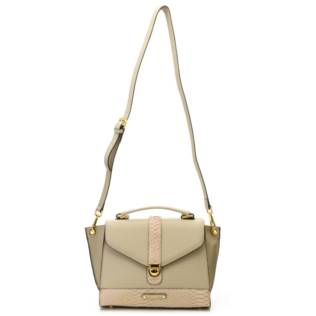716-496 - Jack French London Snake Embossed & Saffiano Leather 2-in-1 Satchel & Cross Body Bag