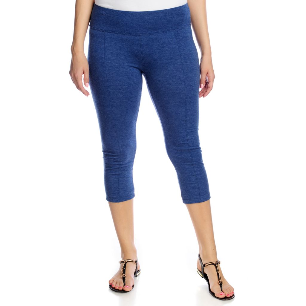 716-503 - One World Stretch Knit Capri Length Seam Detail Leggings