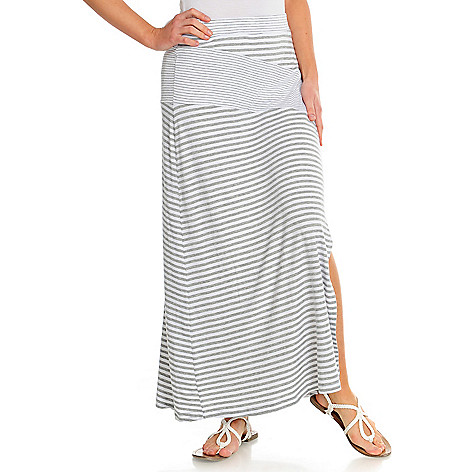 716-507 - Kate & Mallory Stretch Knit Elastic Waist Side Slit Maxi Skirt