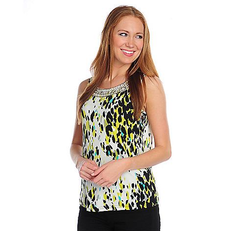 716-510 - Glitterscape Stretch Knit Beaded Neck Printed Tank Top