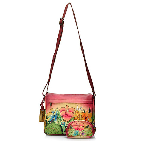 716-511 - Anuschka Hand-Painted Leather Zip Top Cross Body Bag w/ Zipper Pouch