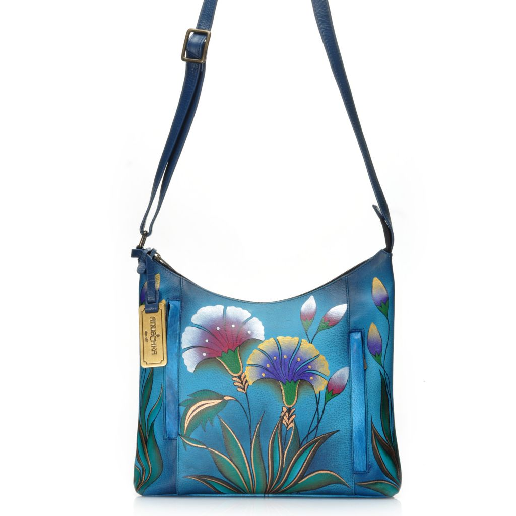 716-512 - Anuschka Hand-Painted Leather Double Front Pocket Shoulder Bag
