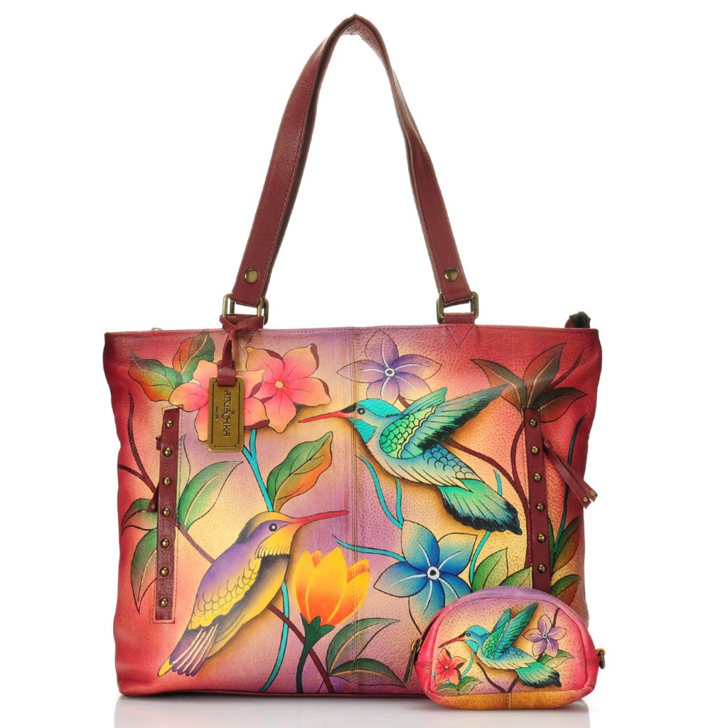 716-513 - Anuschka Hand-Painted Leather Zip Top Oversized Tote Bag w/ Zipper Pouch