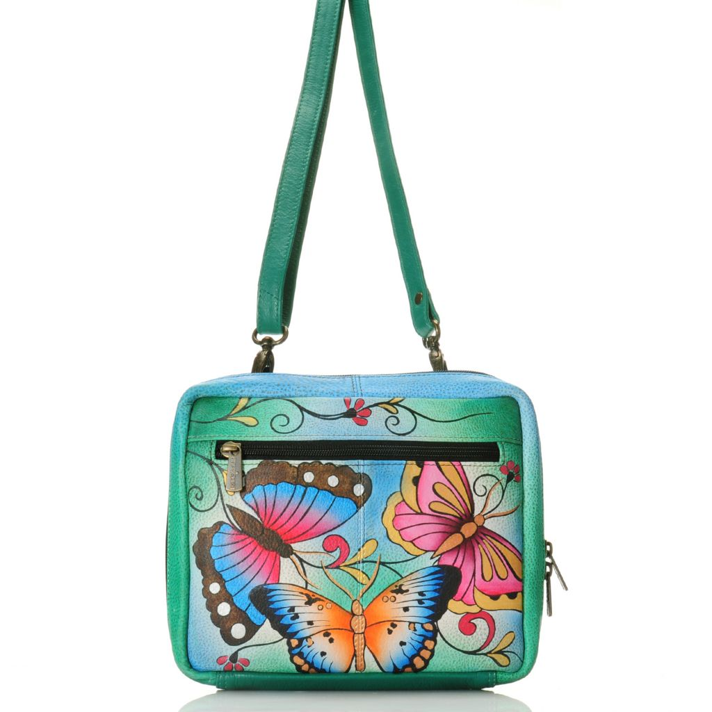 716-514 - Anuschka Hand-Painted Leather Zip Around Organizer Cross Body Bag