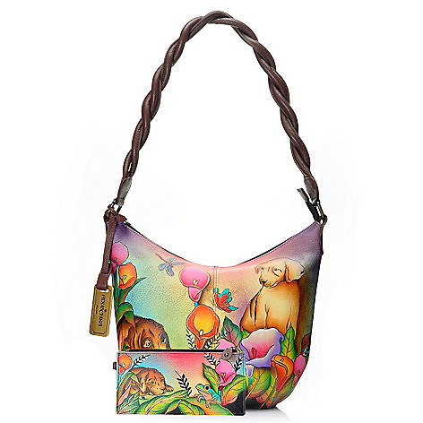 716-515 - Anuschka Hand-Painted Leather Zip Top Hobo Handbag w/ Two Card Wallets