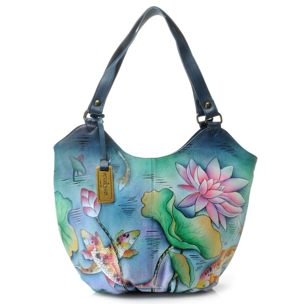 716-516 - Anuschka Hand-Painted Leather Double Handle Ruched Hobo Handbag