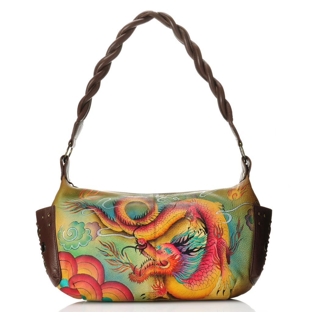 716-517 - Anuschka Hand-Painted Leather Zip Top Studded East-West Shoulder Bag