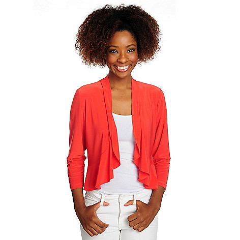 716-518 - aDRESSing WOMAN Stretch Knit 3/4 Sleeved Open Front Peplum Shrug